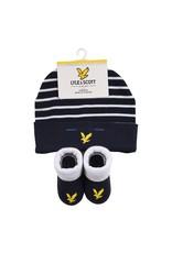 Lyle & Scott Boys Eagle Badge Hat & Bootie Set Multi Coloured