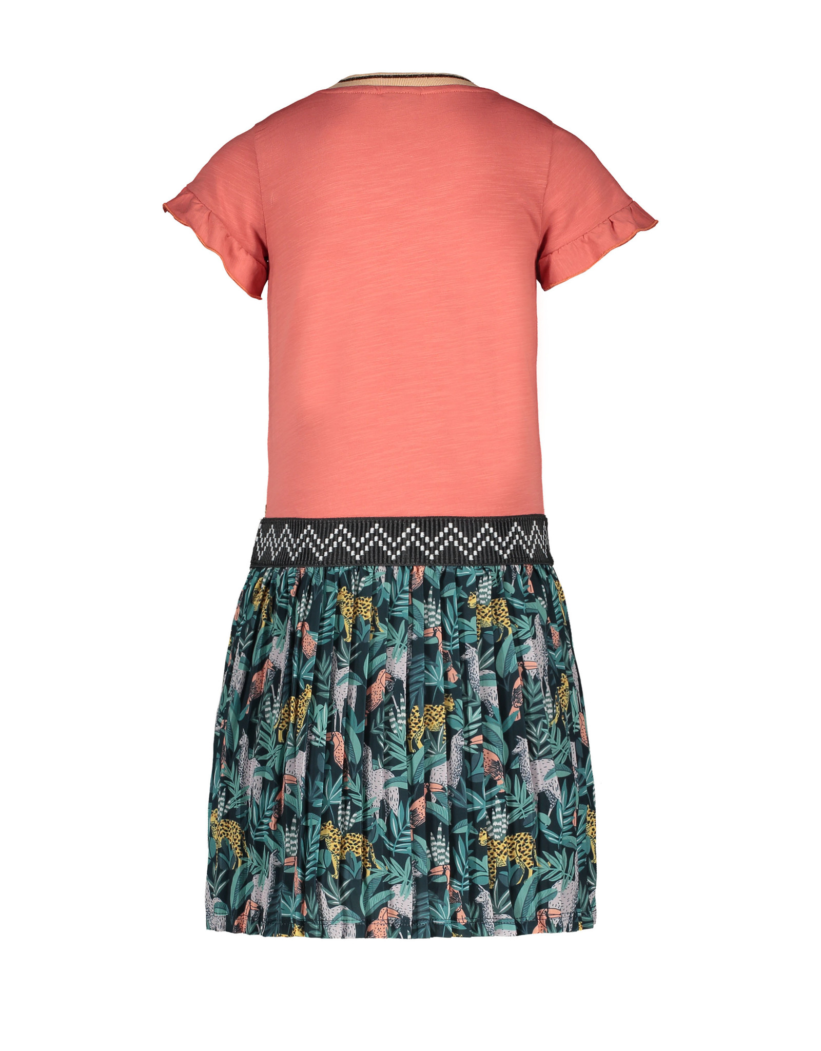 Like Flo girls jersey ruffle dress with AO plisse skirt Blush
