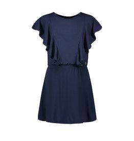 Like Flo girls viscose jersey ruffle smock dress Navy