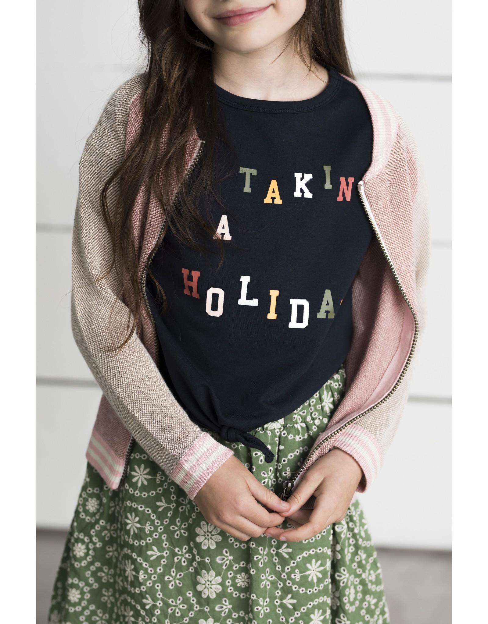 Like Flo girls fancy knit cardigan Navy