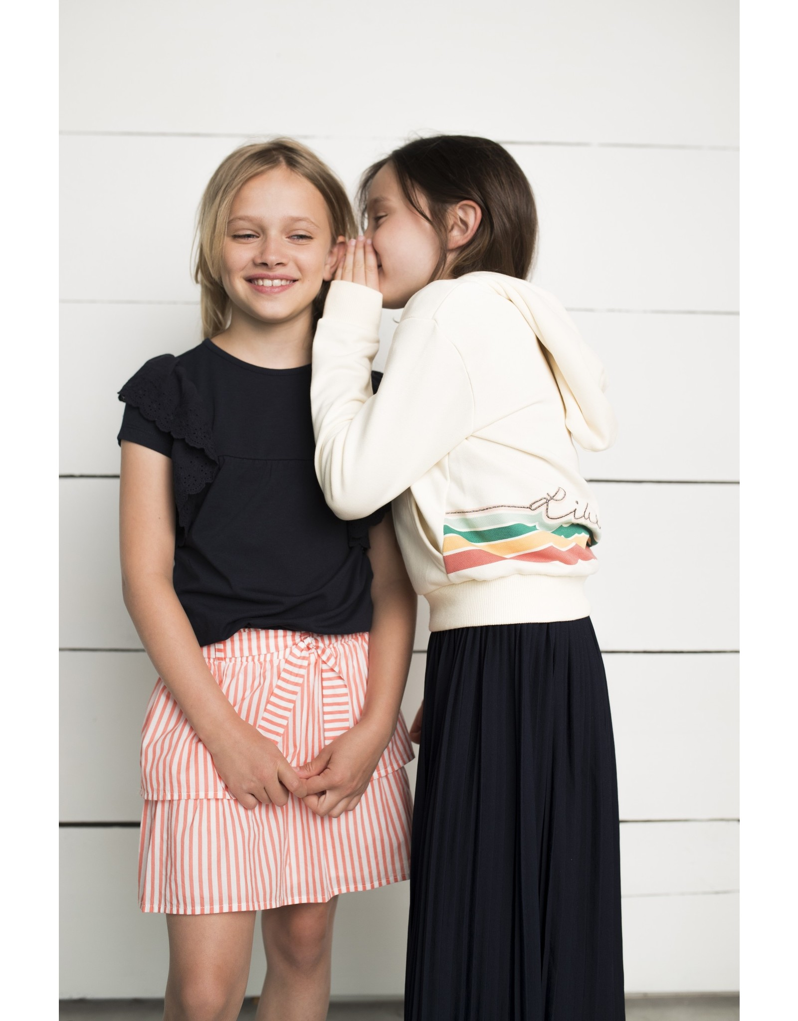 Like Flo girls jersey broidery anglais ruffle top Off white