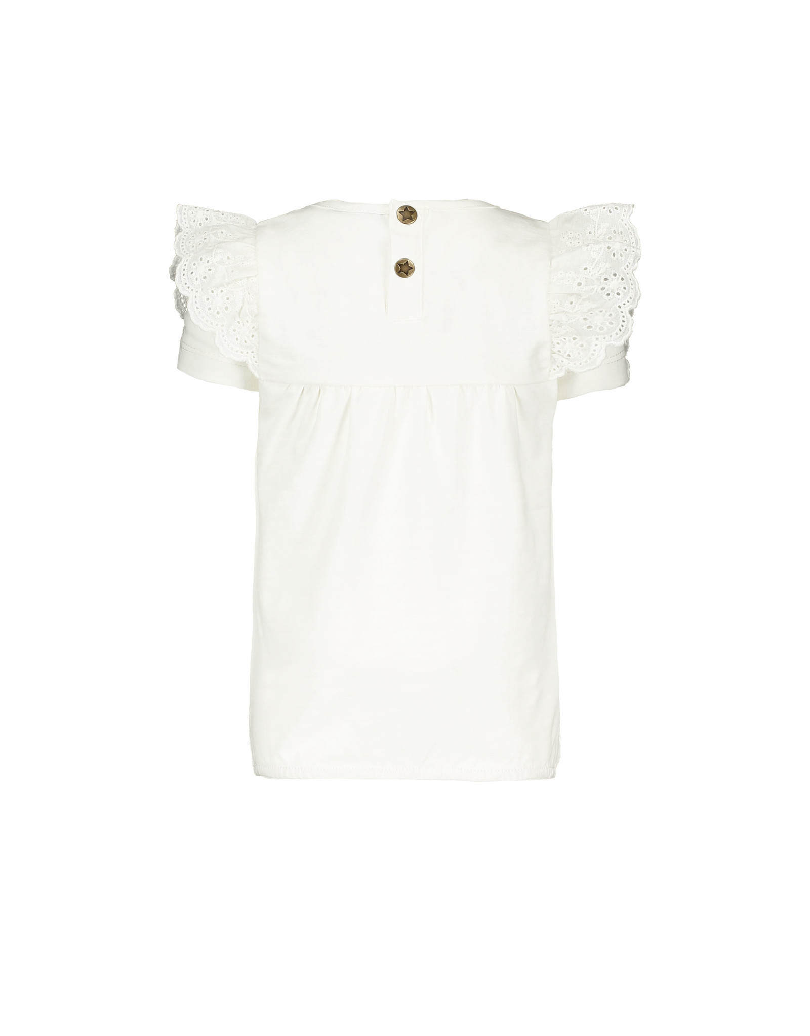 Flo baby baby girls jersey broidery anglais ruffle top Off white