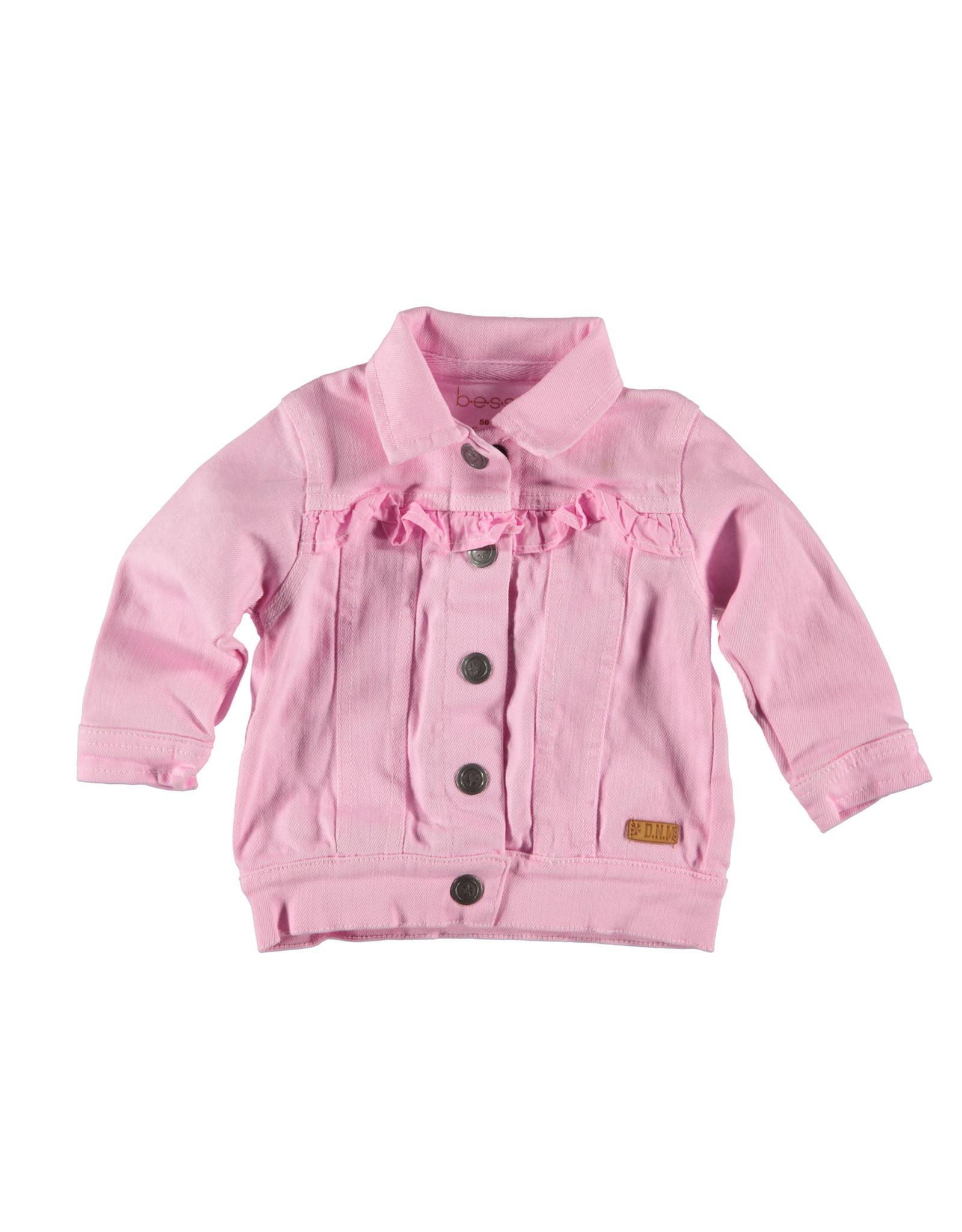 Bess Jeans Jacket Ruffles Pink