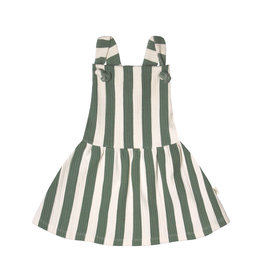 Your Wishes Bold Stripes | Dungaree Dress Old Green