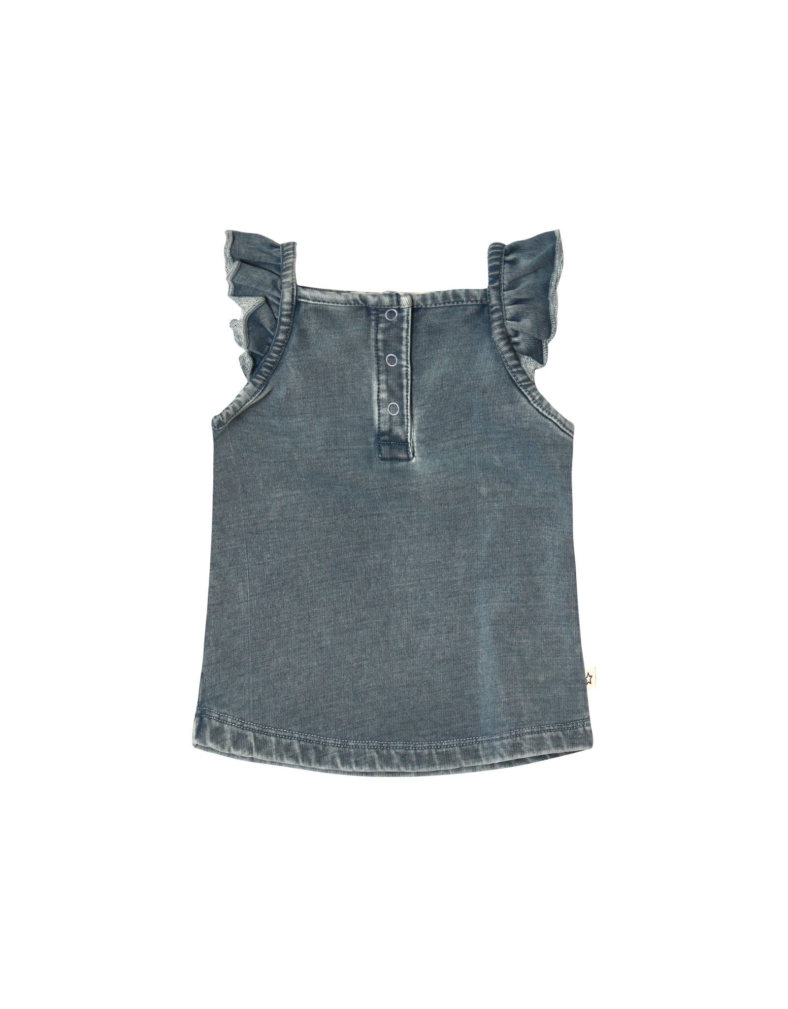 Your Wishes Knitted Denim | Ruffle Singlet Denim Blue