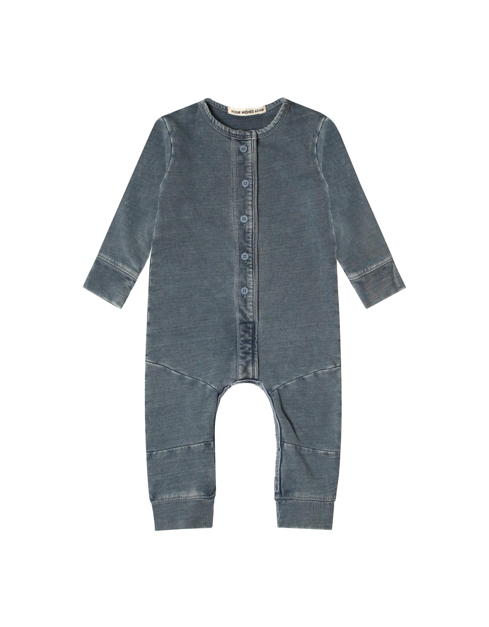 Your Wishes Knitted Denim   Seam Onesie Denim Blue