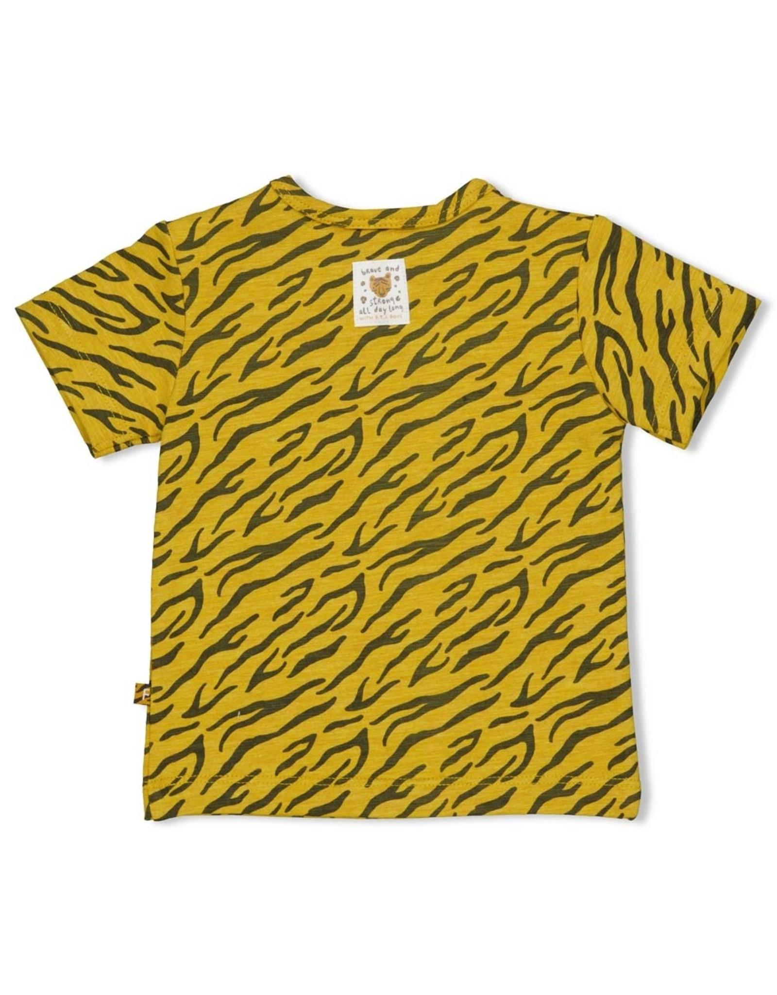 Feetje T-shirt AOP - Go Wild Okergeel melange