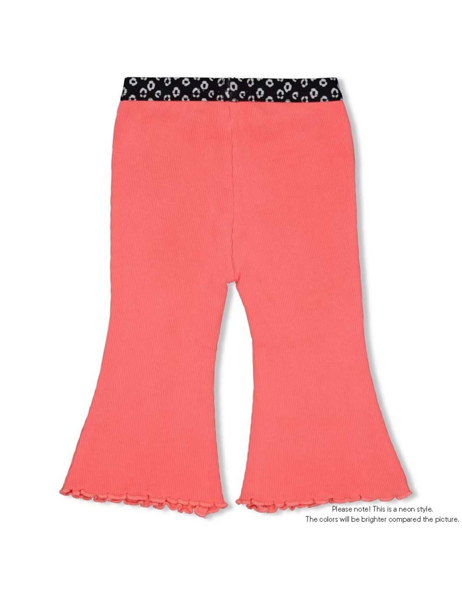 Feetje Flare pants - Leopard Love Neon Koraal