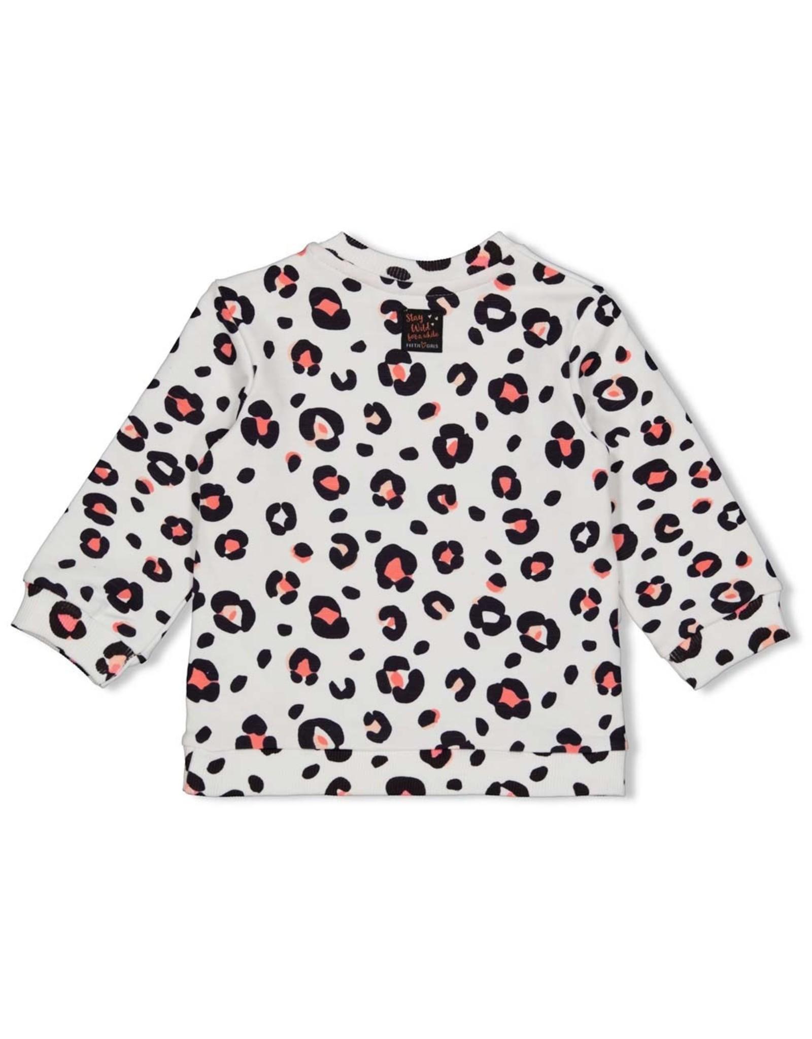 Feetje Sweater AOP - Leopard Love Wit