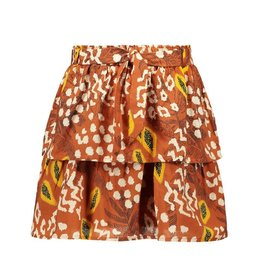 Like Flo girls AO woven 2 layer skirt + belt Cognac papaya