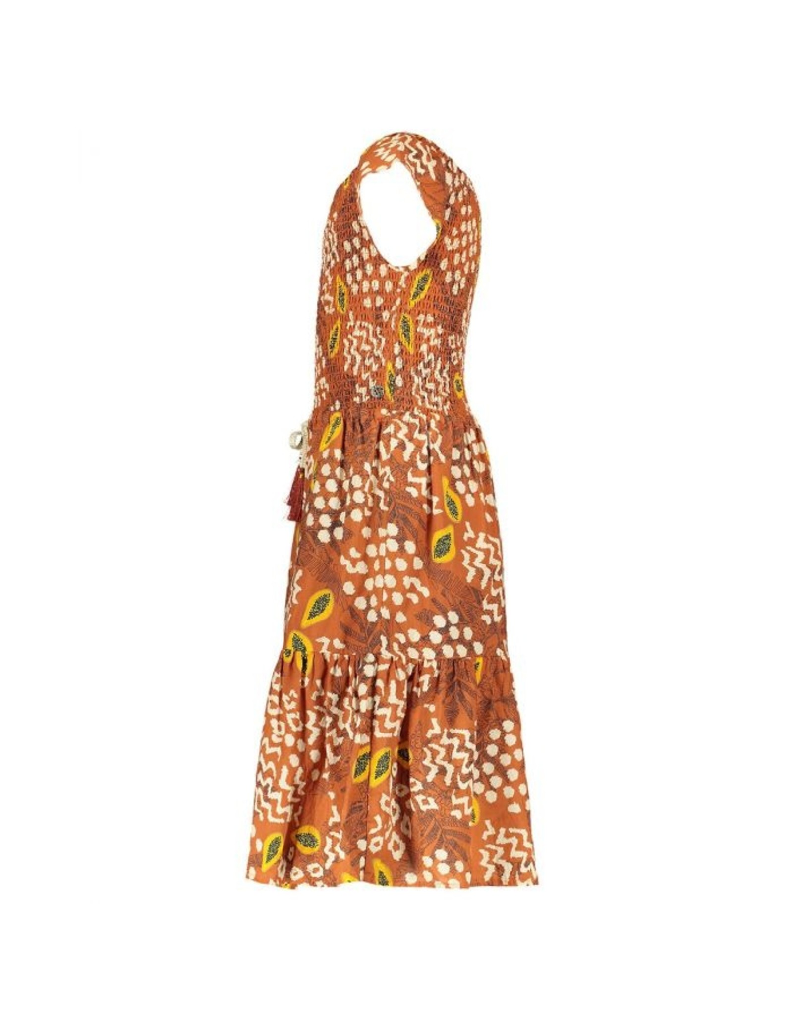 Like Flo girls AO woven smock maxi dress Cognac papaya