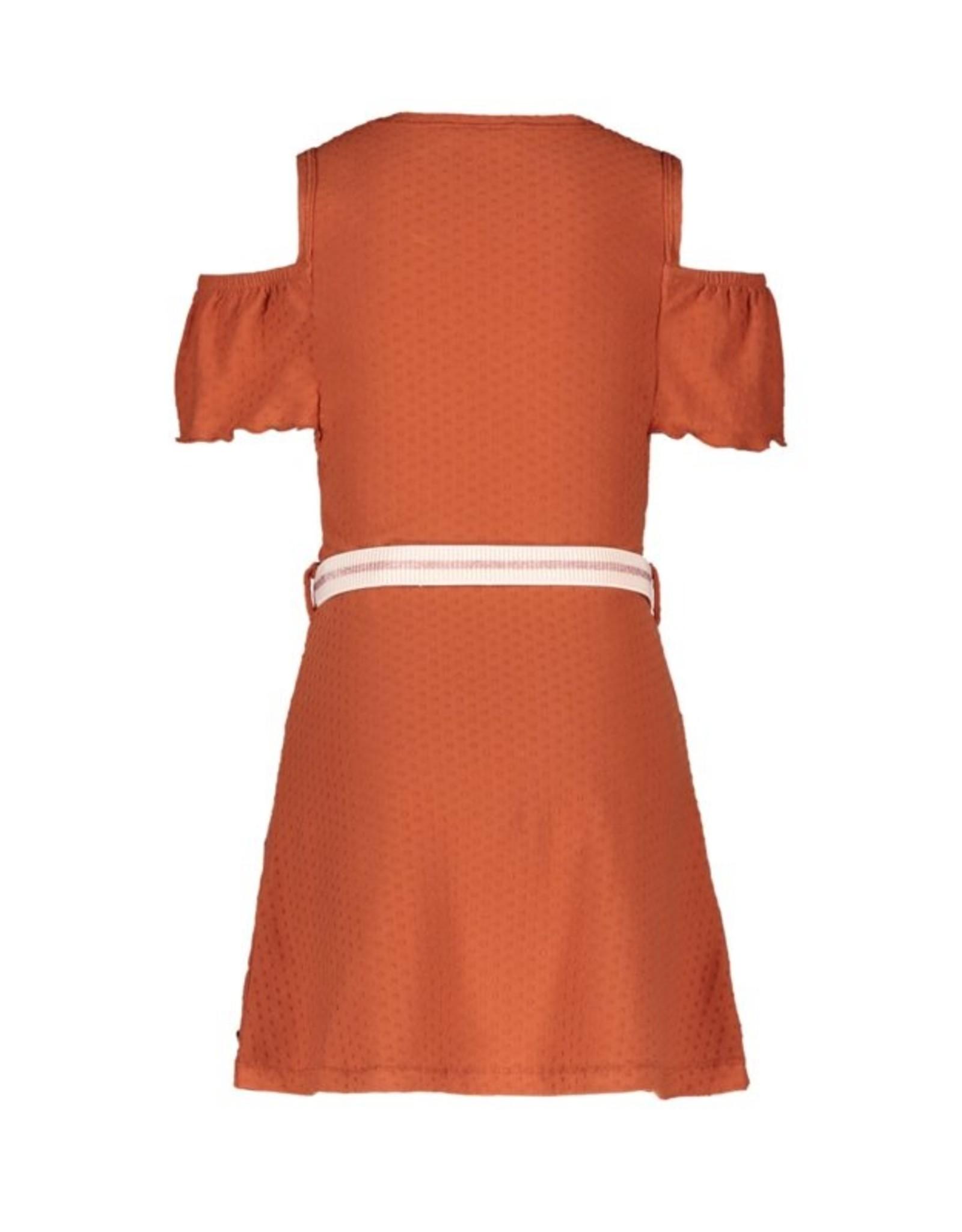 Like Flo girls fancy jersey open shoulder dress Cognac