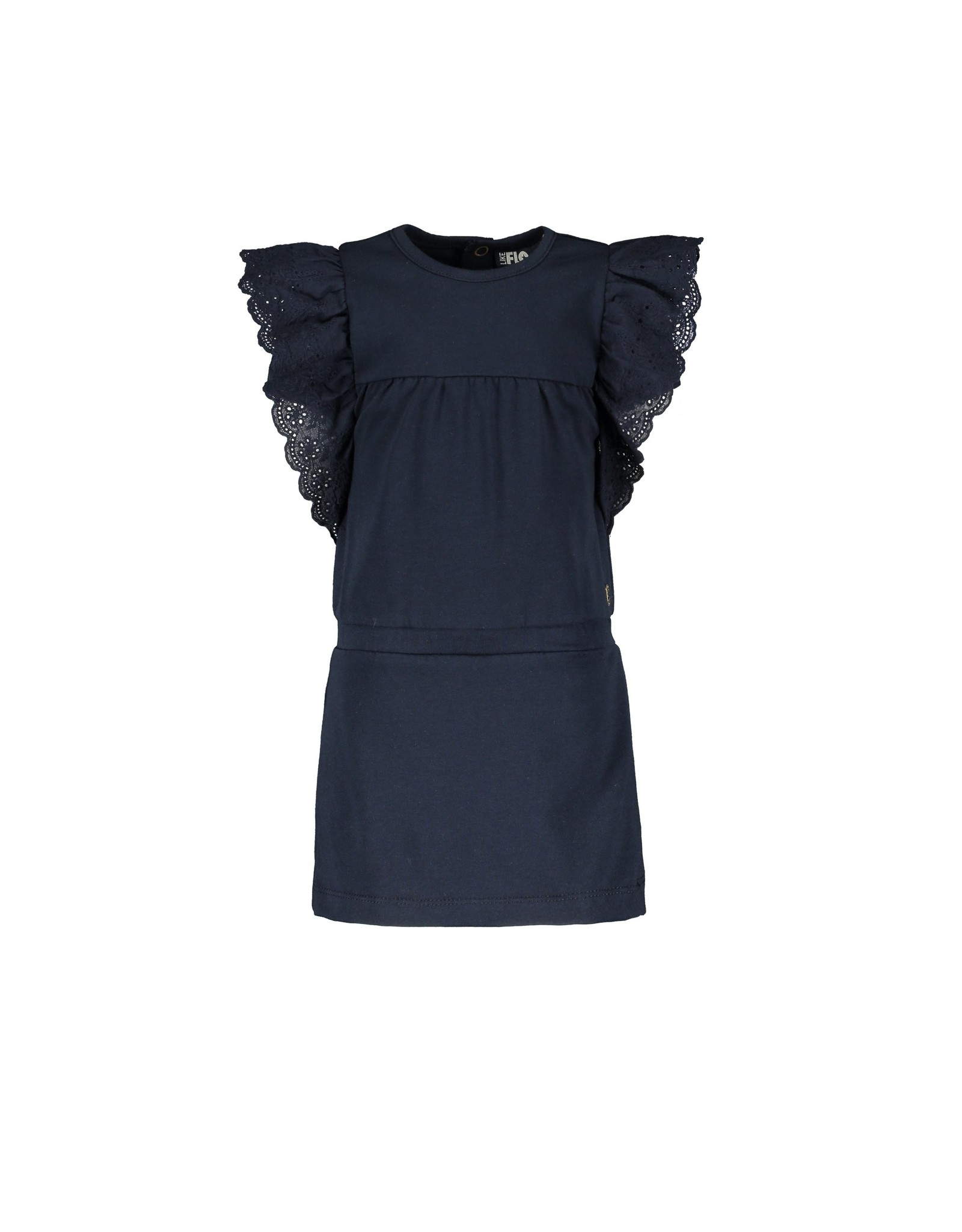 Like Flo baby girls jersey broidery anglais dress Navy Blue