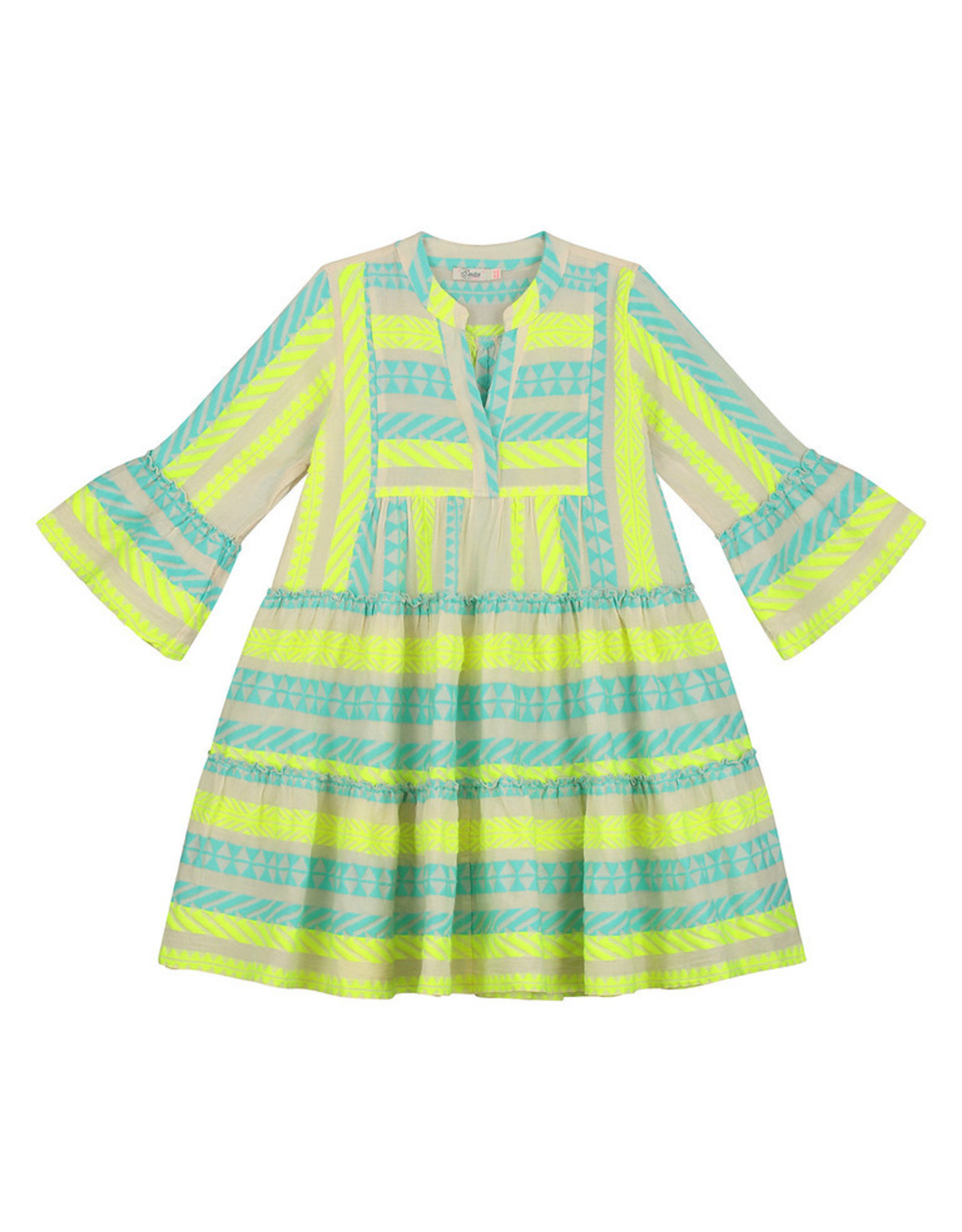 Devotion Short Dress Ella Stars Baby Blue Neon Lime