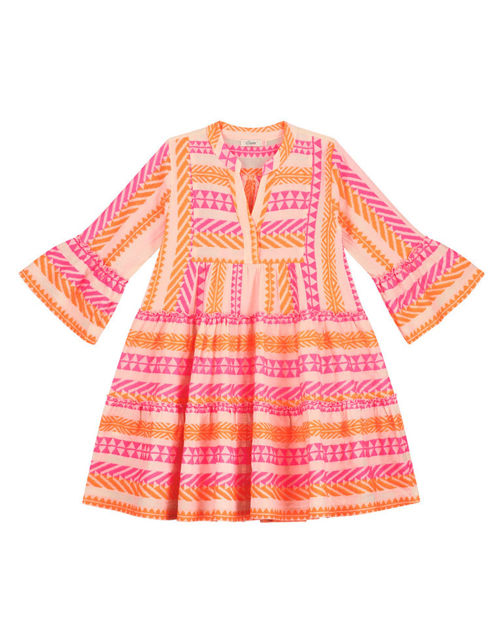 Devotion Short Dress Ella Stars Neon Pink Neon Orange