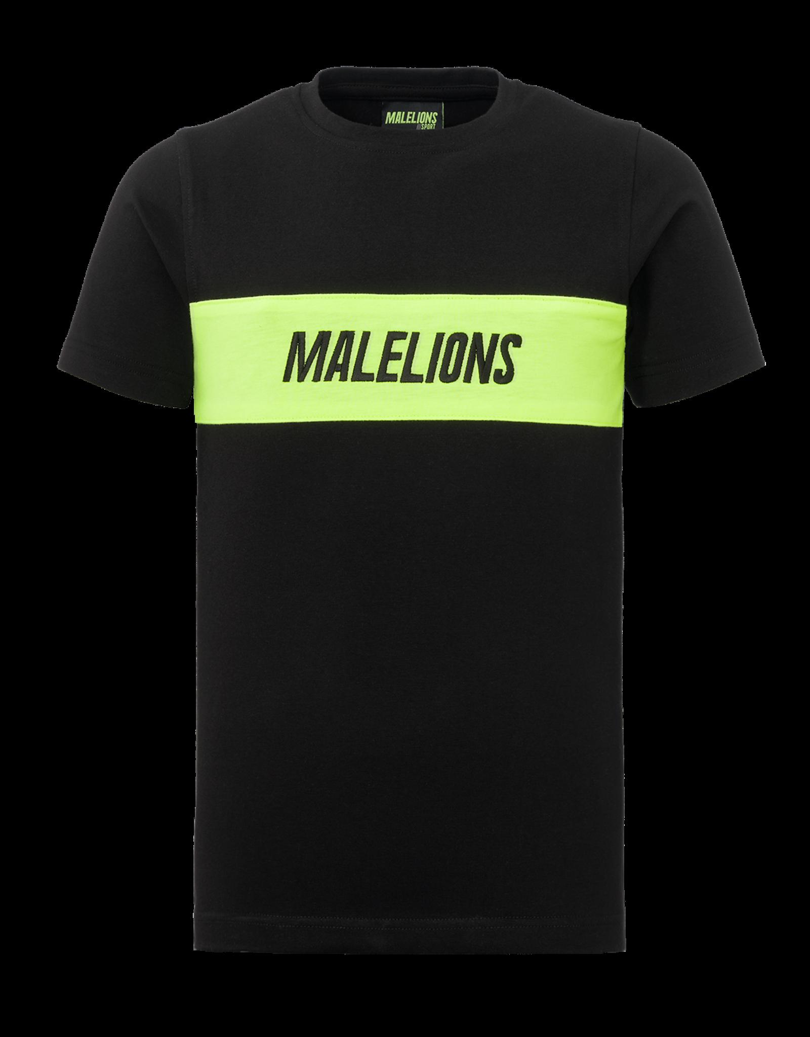 Malelions Junior Uraenium T-shirt Black - Neon Yellow