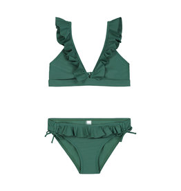 Shiwi girls panama ruffle triangle bikini hunter green