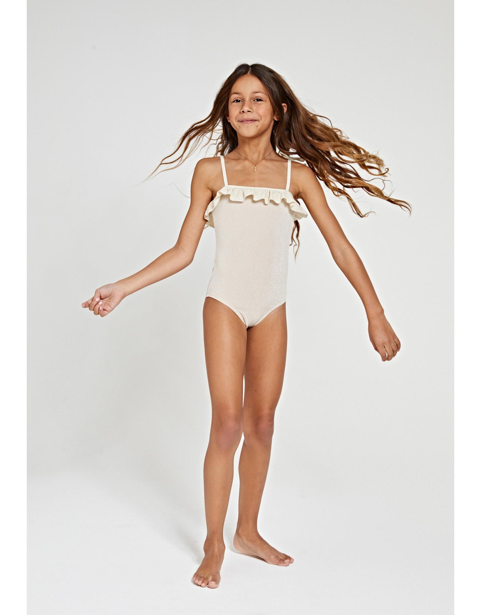 Shiwi girls glitter ruffle swimsuit white