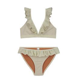 Shiwi girls glitter ruffle triangle bikini white
