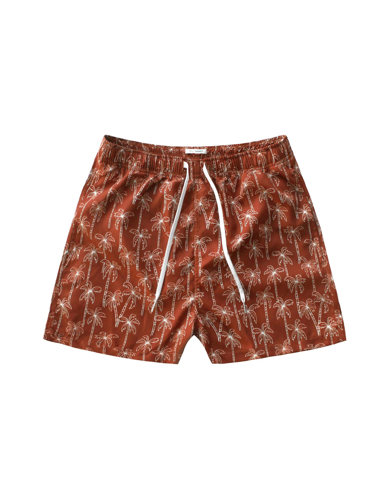 Your Wishes Palmtrees   Swim Shorts Men Dark Rust