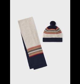Mayoral Jacquard scarf-hat set Peach