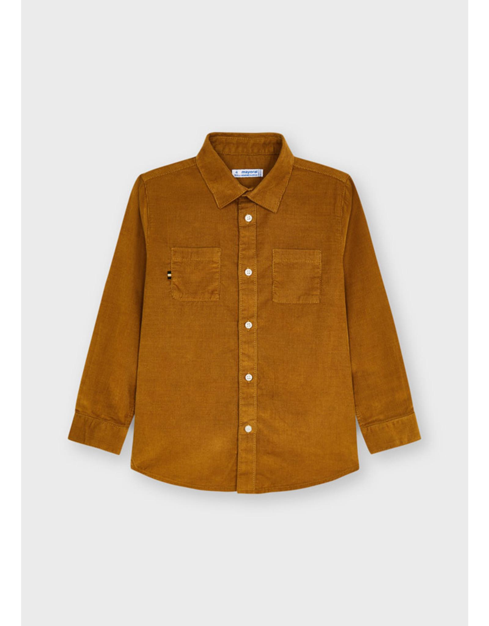 Mayoral L/s mirco-cord shirt Cinammon