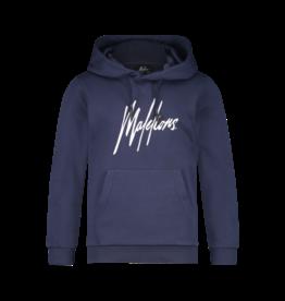 Malelions Junior Signature Hoodie Navy/White