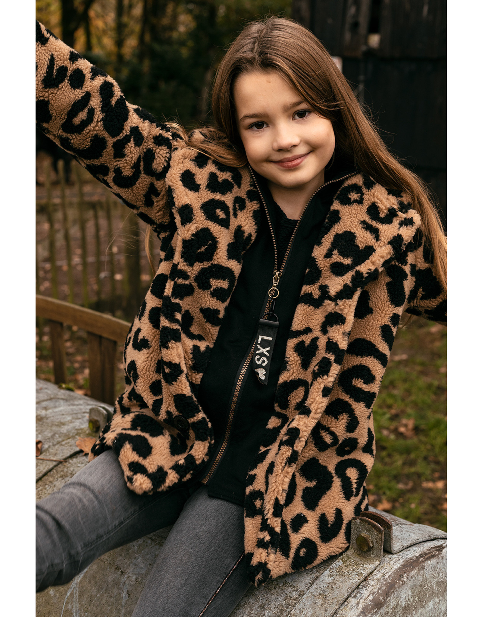 LOOXS 10sixteen Long teddy panther coat palms