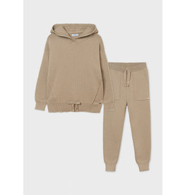 Mayoral Long Knit Trousers Set Camel