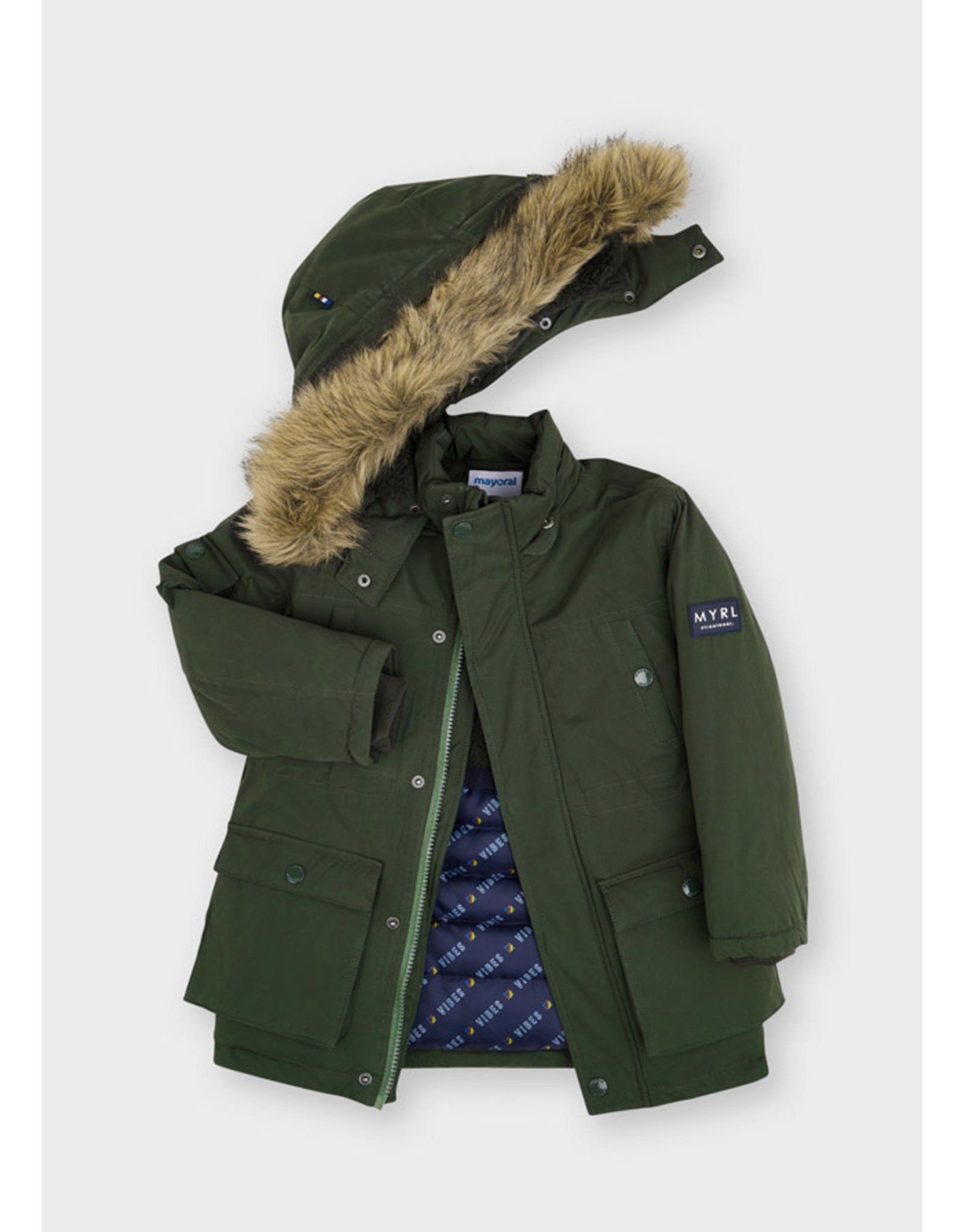 Mayoral Faux fur hooded parka coat Dill