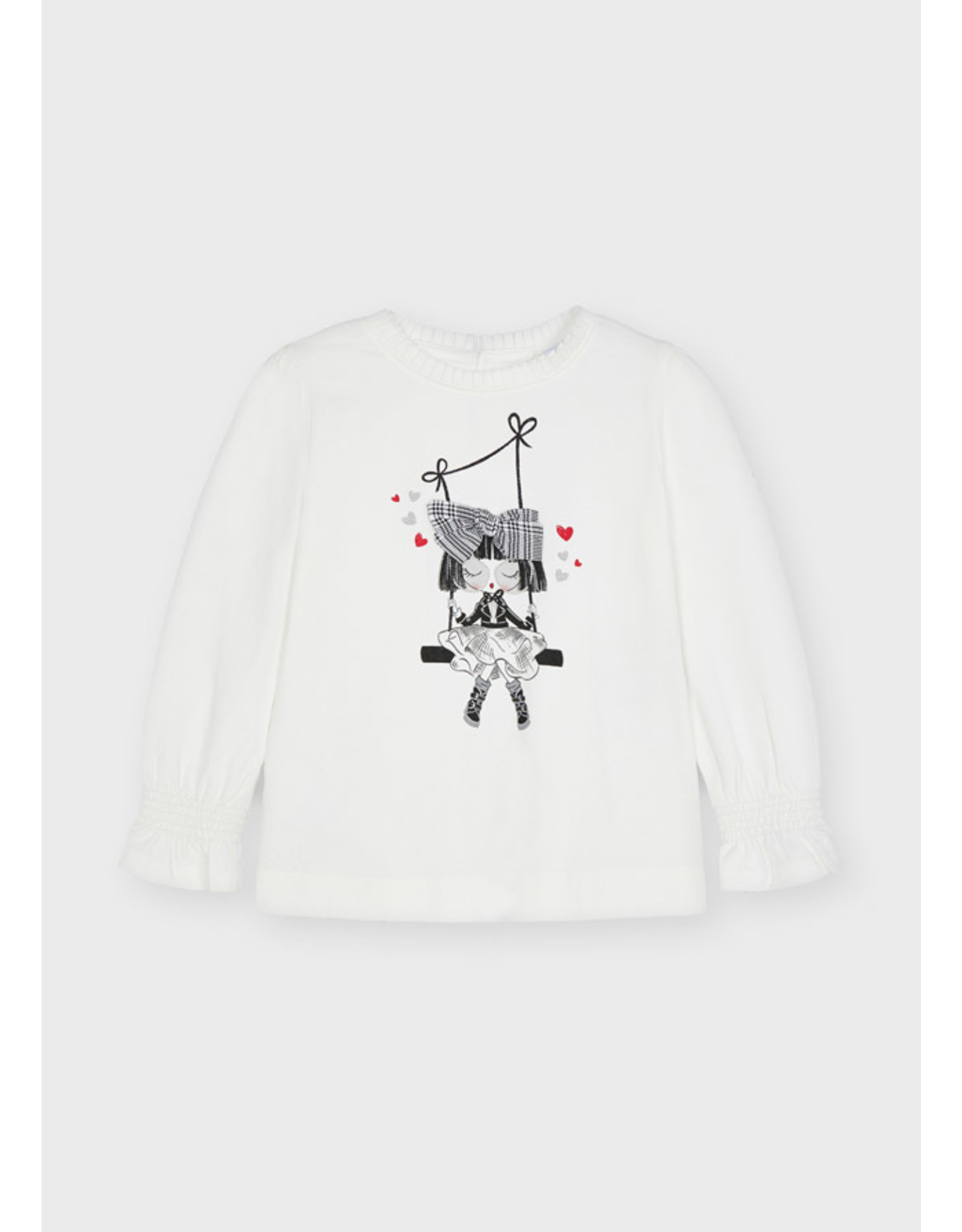 Mayoral L/s doll t-shirt Natur-blac