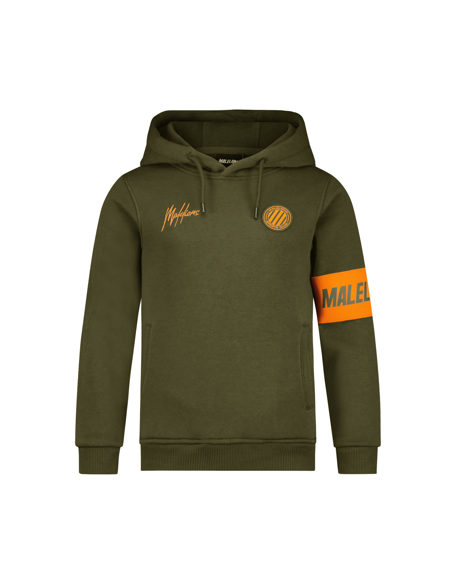 Malelions Junior Sport Captain Hoodie Army/Orange