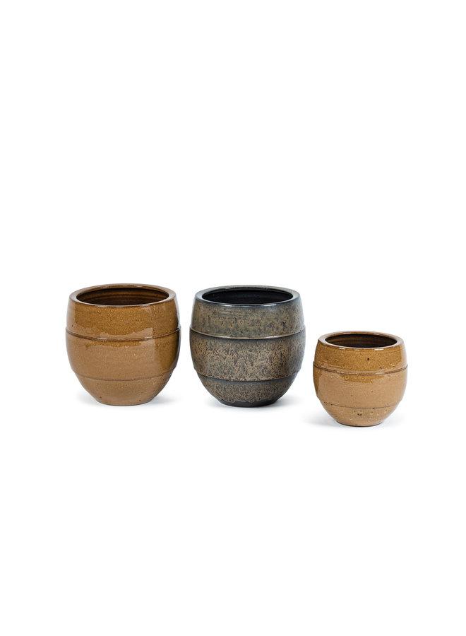 Flowerpot glaced brown, Ø 25 x 23 cm