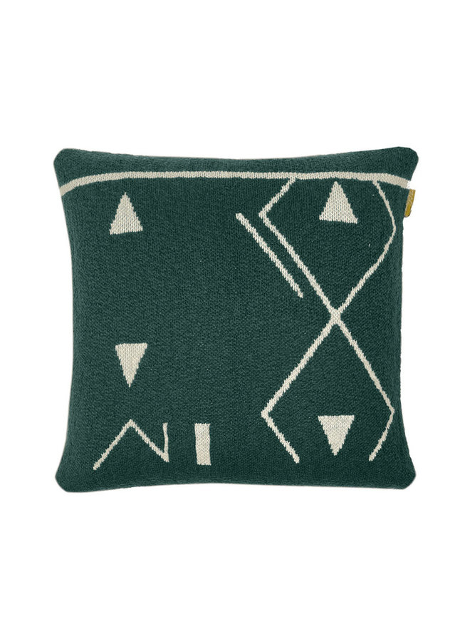 Fantasy line knitted cushion green