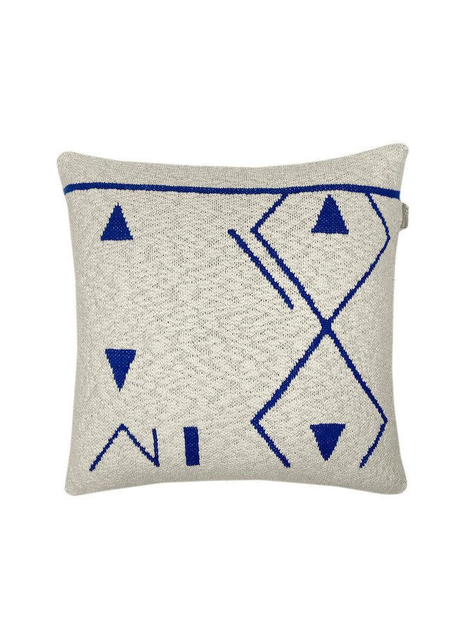 Fantasy line knitted cushion blue