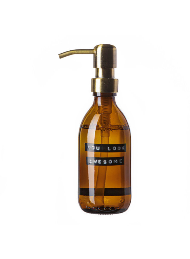 Handzeep bamboe bruin glas messing pomp 250ml 'you look awesome'