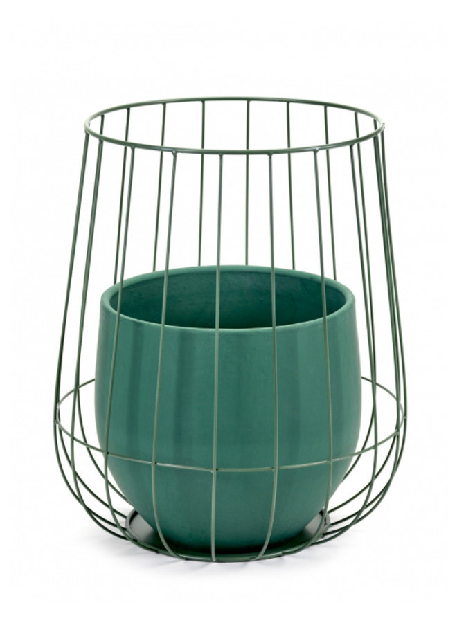 POT IN A CAGE ARMY GREEN D37 H46