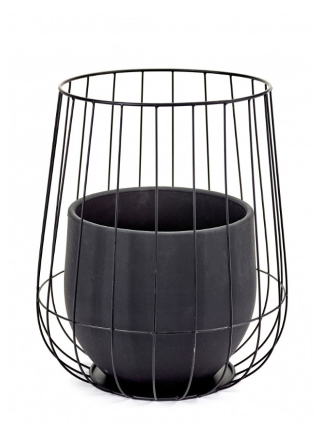 POT IN A CAGE BLACK D37 H46