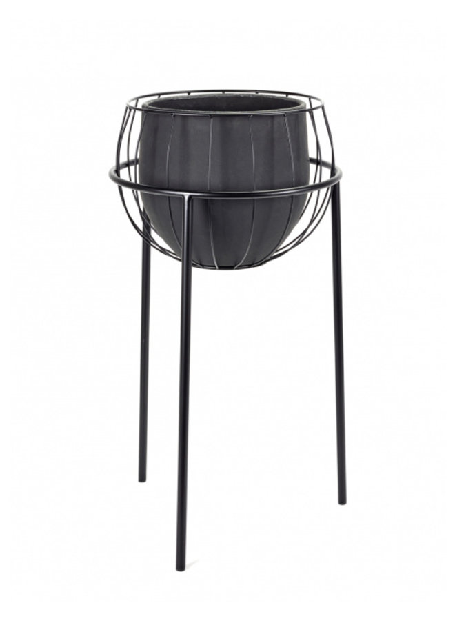 PLANT STAND CAGE INCL POT BLACK 40X40H74,5
