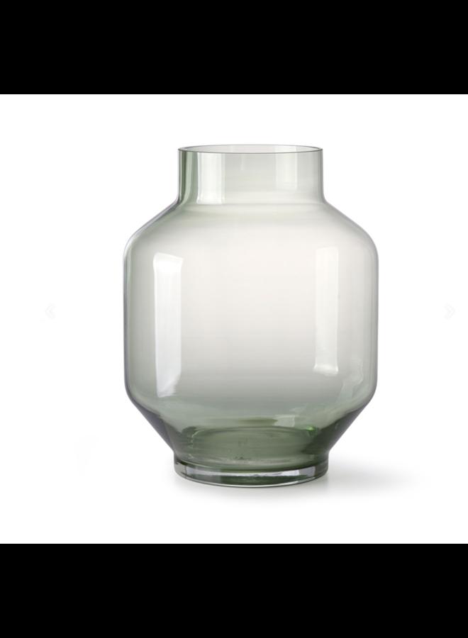 GREEN GLASS VASE L 19,5x25CM