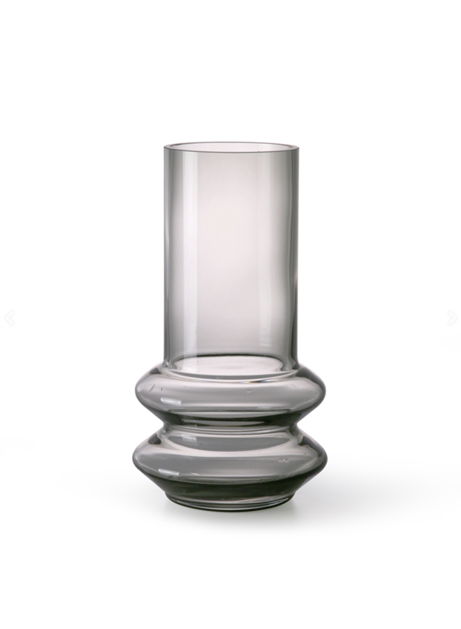 SMOKED GREY GLASS VASE M 14x24CM