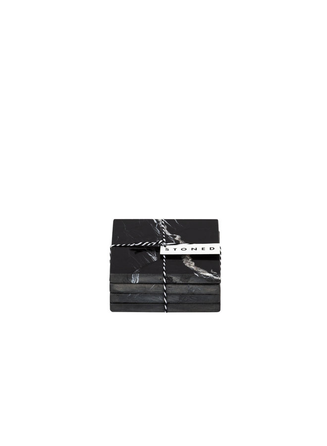 SET VAN 4 BLACK MARBLE SQUARE COASTERS