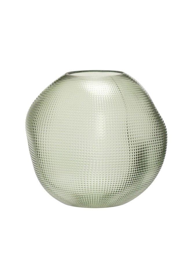 VASE, GLASS, GREEN 21x20CM