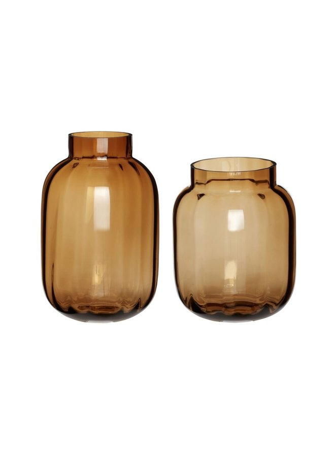 VASE GLASS AMBER GROOT 18x28CM