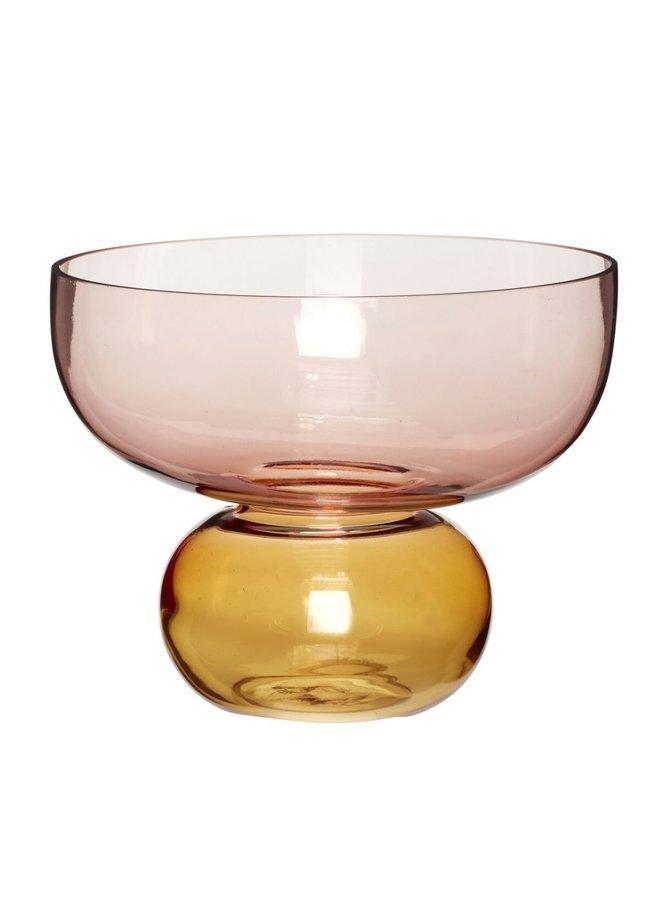 VASE, GLASS, ROSA/AMBER
