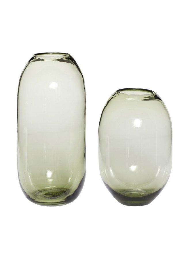 VASE, GLASS, GREEN KLEIN 19x29CM