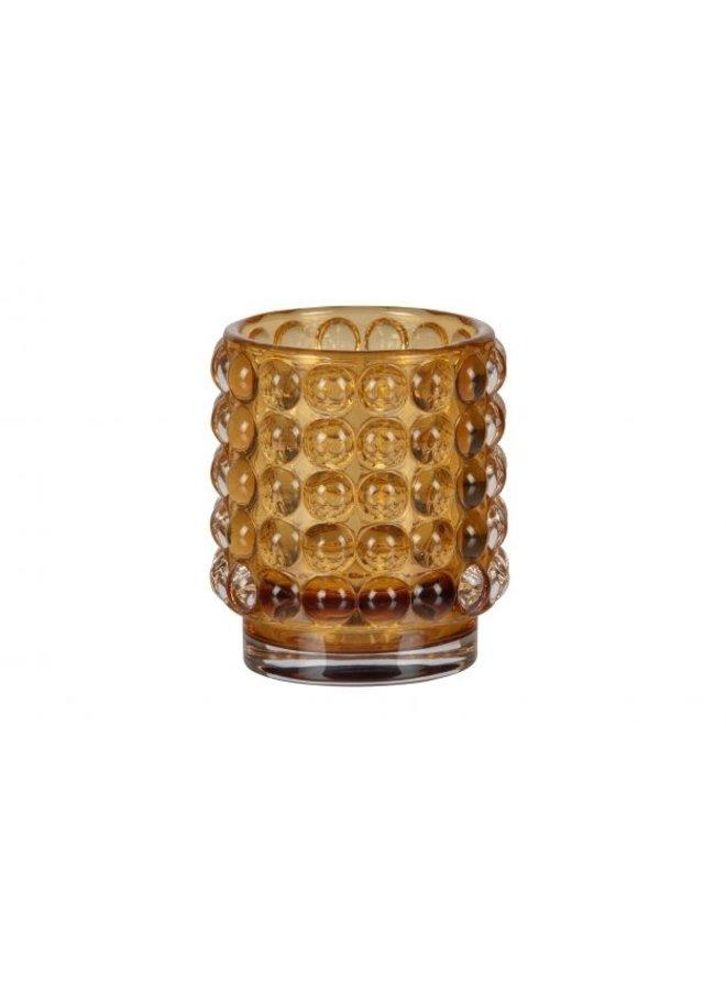 BUMBLE CANDLEHOLDER GLASS OKER 8x7 CM