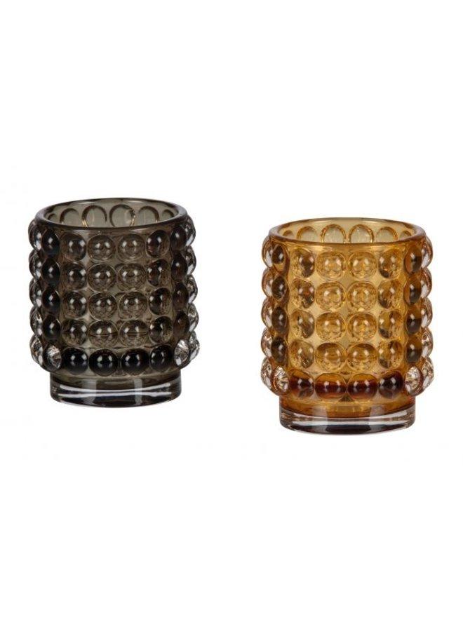 BUMBLE CANDLEHOLDER GLASS D. BRUIN 8x7 CM