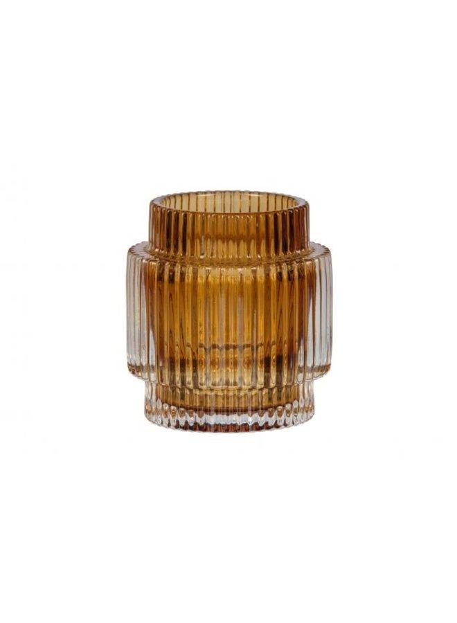 WAVE CANDLEHOLDER GLASS OKER 10x9 CM