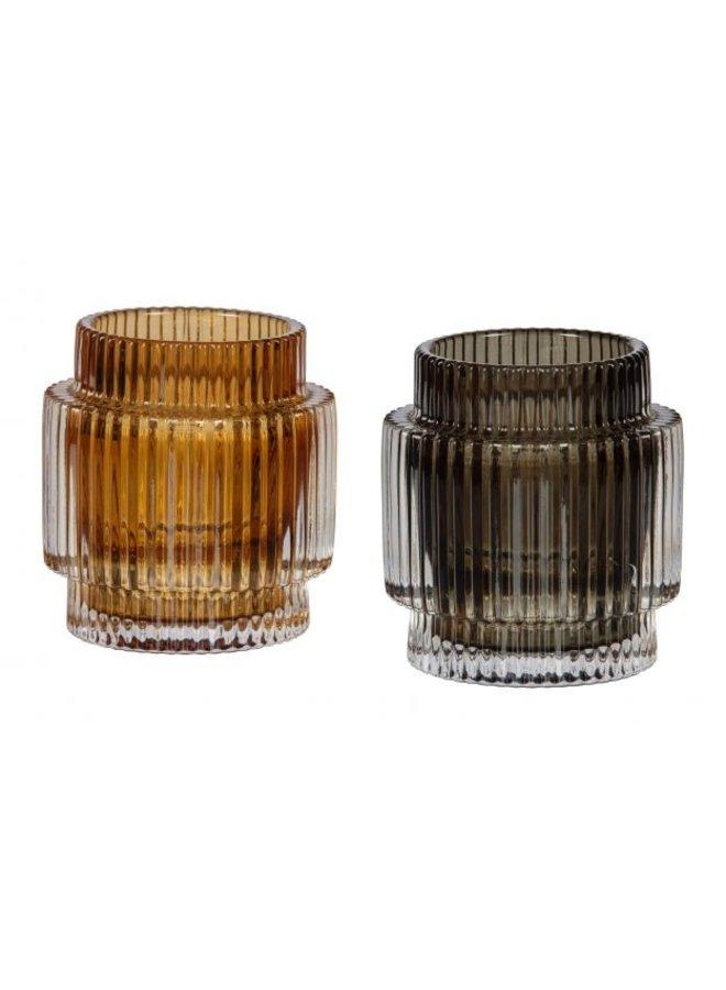 WAVE CANDLEHOLDER GLASS D. BRUIN 10x9 CM